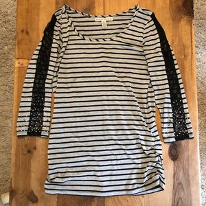 French laundry gray and black striped blouse